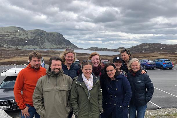 9 ansatte i IPS-teamet i gruppe på en parkeringsplass i fjellet