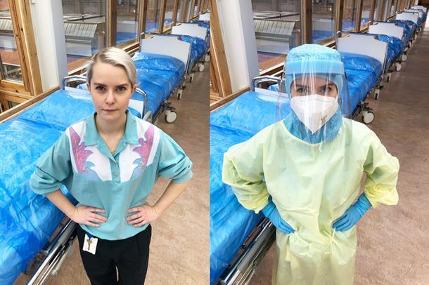 To bilder i ett, kvinnelig sykepleier i sivilt og i fullt smittevernutrtyr med visir, ++